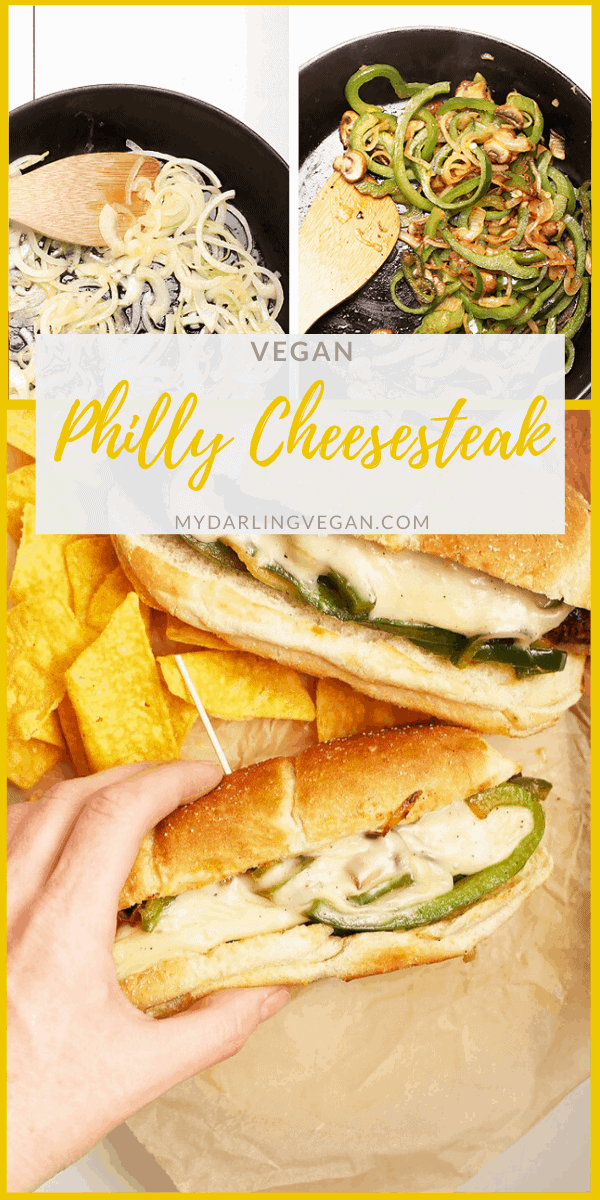 Vegan Philly Cheesesteaks made with marinated portobello mushrooms, sautéed onions and peppers, and homemade vegan cheese sauce for a healthier spin on this classic sandwich.