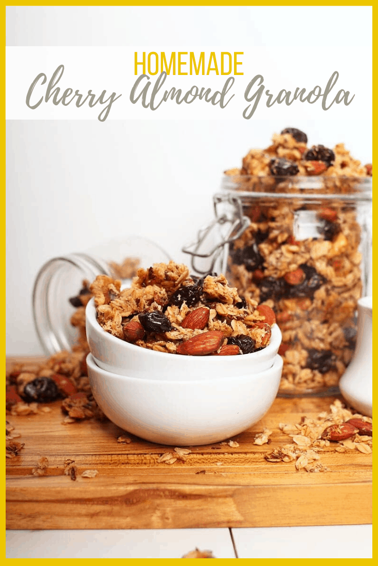 The perfect, sweet and crunchy, super chunky, homemade granola filled with cherries, almonds, coconut, and spices for a hearty and healthy quick breakfast. Easy and delicious!