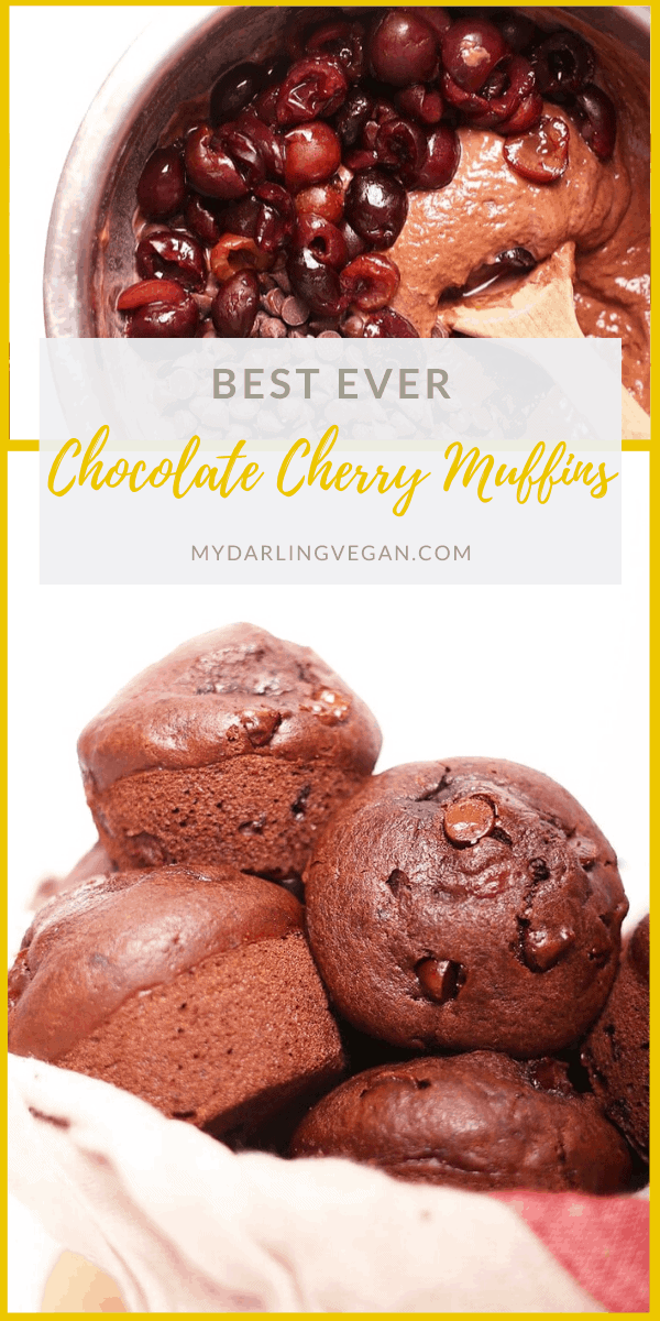 These vegan Double Chocolate Cherry Muffins are so quick and easy to make. And, bursting with chocolate and cherry in every bite, they are 100% delicious. Make them in under 30 minutes for a sweet morning pastry or chocolate afternoon snack.