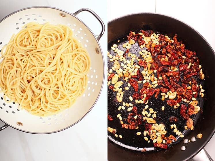Spaghetti noodles and pine nuts