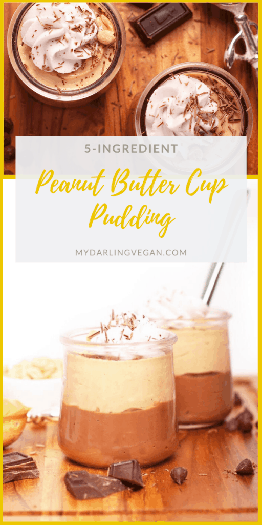 This Chocolate Peanut Butter Cup Pudding is so good; it's like eating a Reese's with a spoon. Bet yet, this vegan pudding is incredibly easy to make. Made with just 5 ingredients for a rich and decadent dessert.