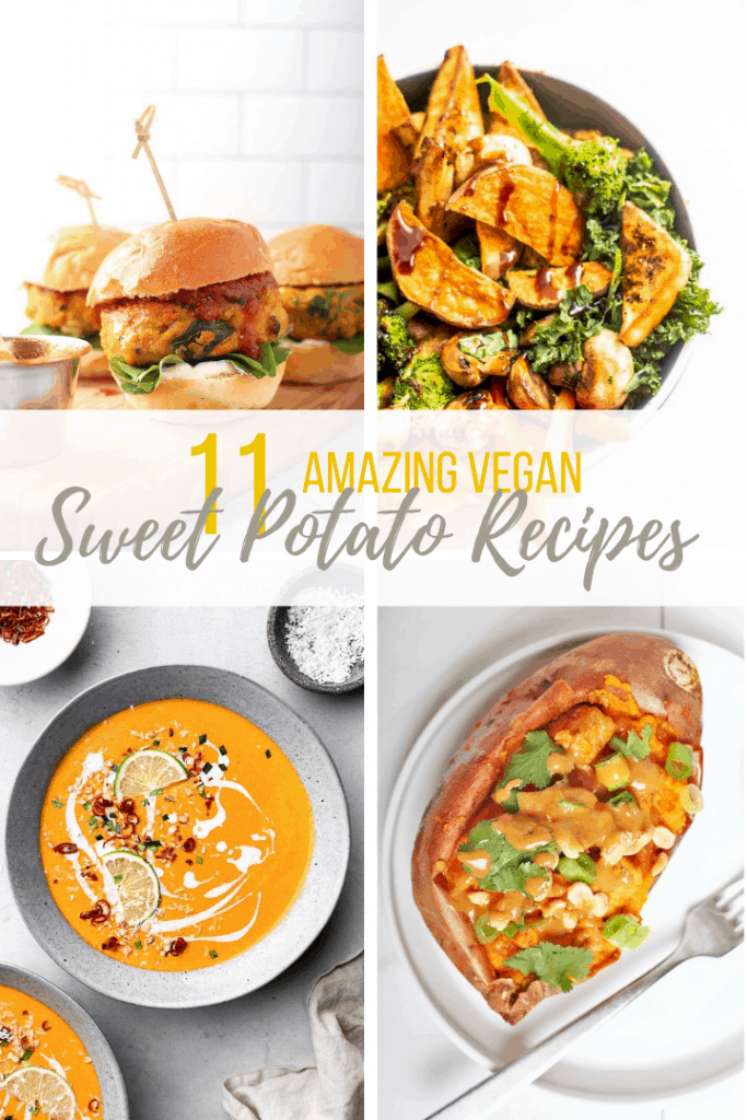 Collage of 4 different sweet potato recipes
