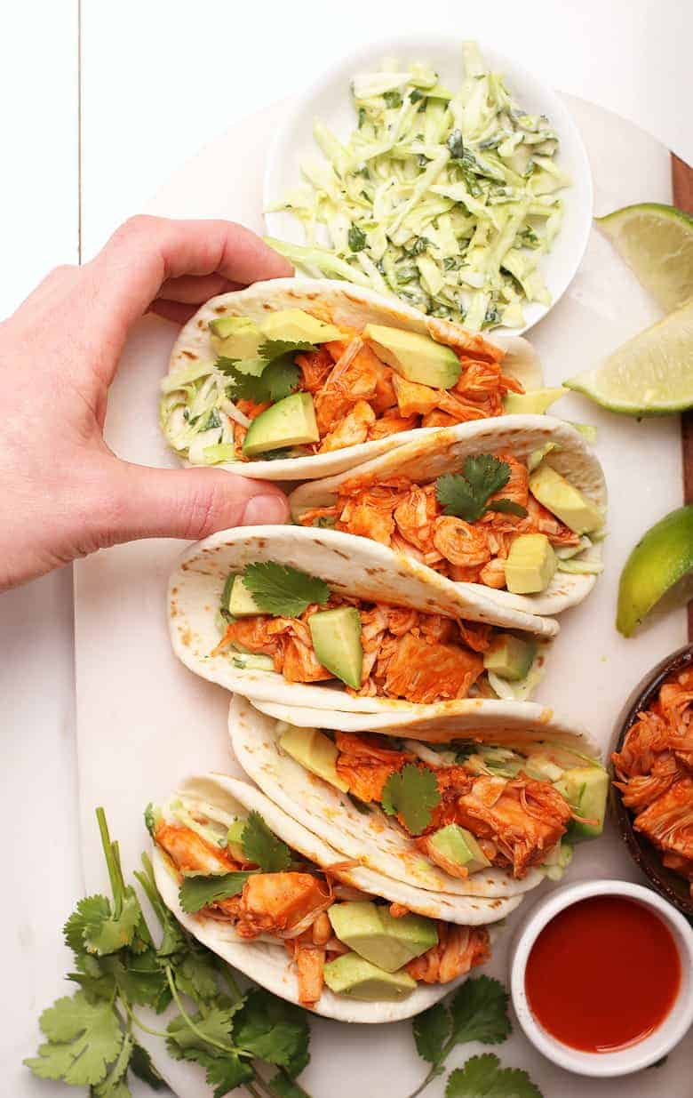 Vegan Tacos with Buffalo Jackfruit