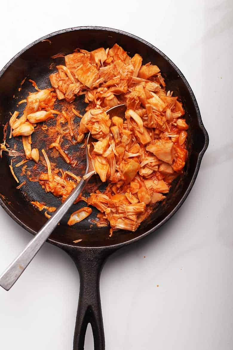 Buffalo Jackfruit in a cast iron skillet