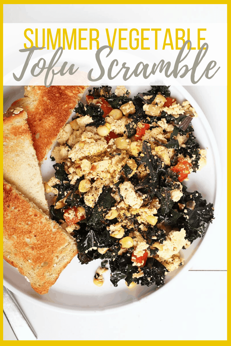 My go-to Tofu Scramble. A hearty vegan and gluten-free breakfast made with tofu, zucchini, corn, and kale. Made in just 10 minutes for a quick and wholesome morning meal.