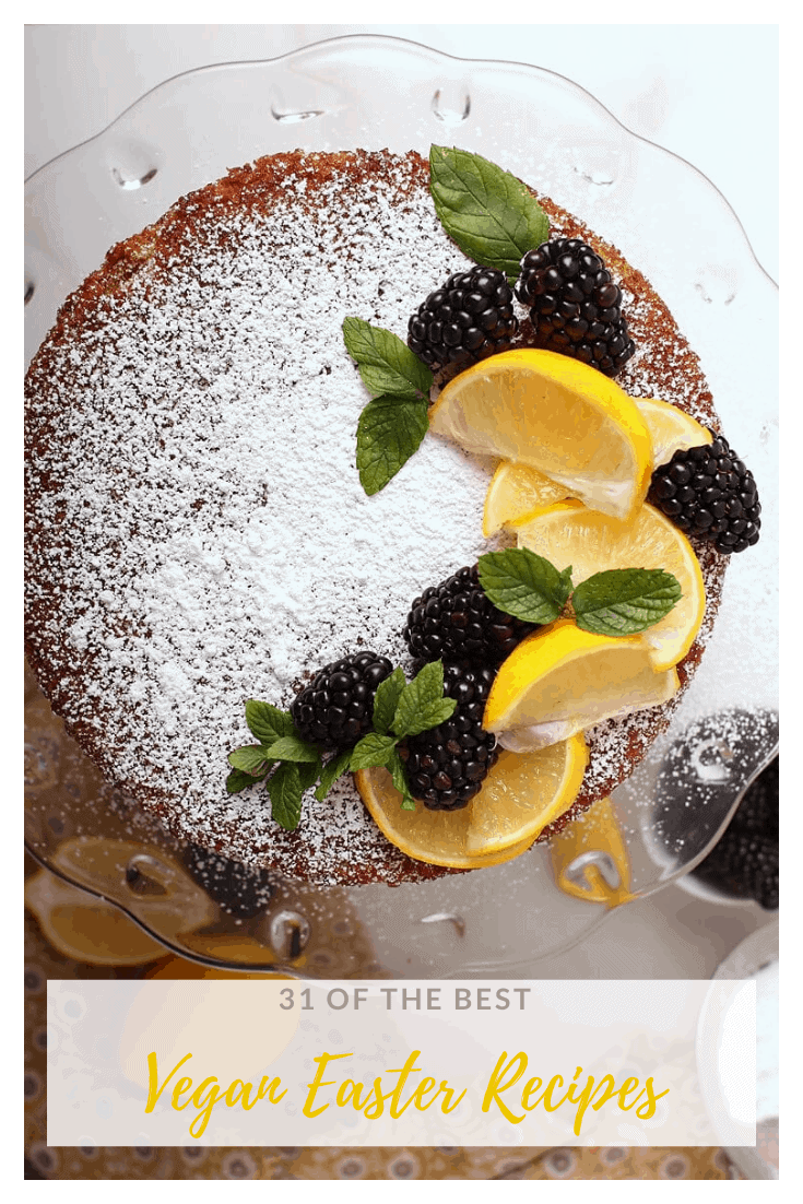 Lemon Olive Oil Cake with lemons and blackberries