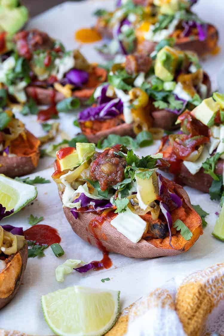 Healthy Twice Baked Sweet Potato Skins