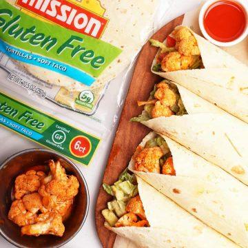 Buffalo Cauliflower Wraps with Mission Tortillas