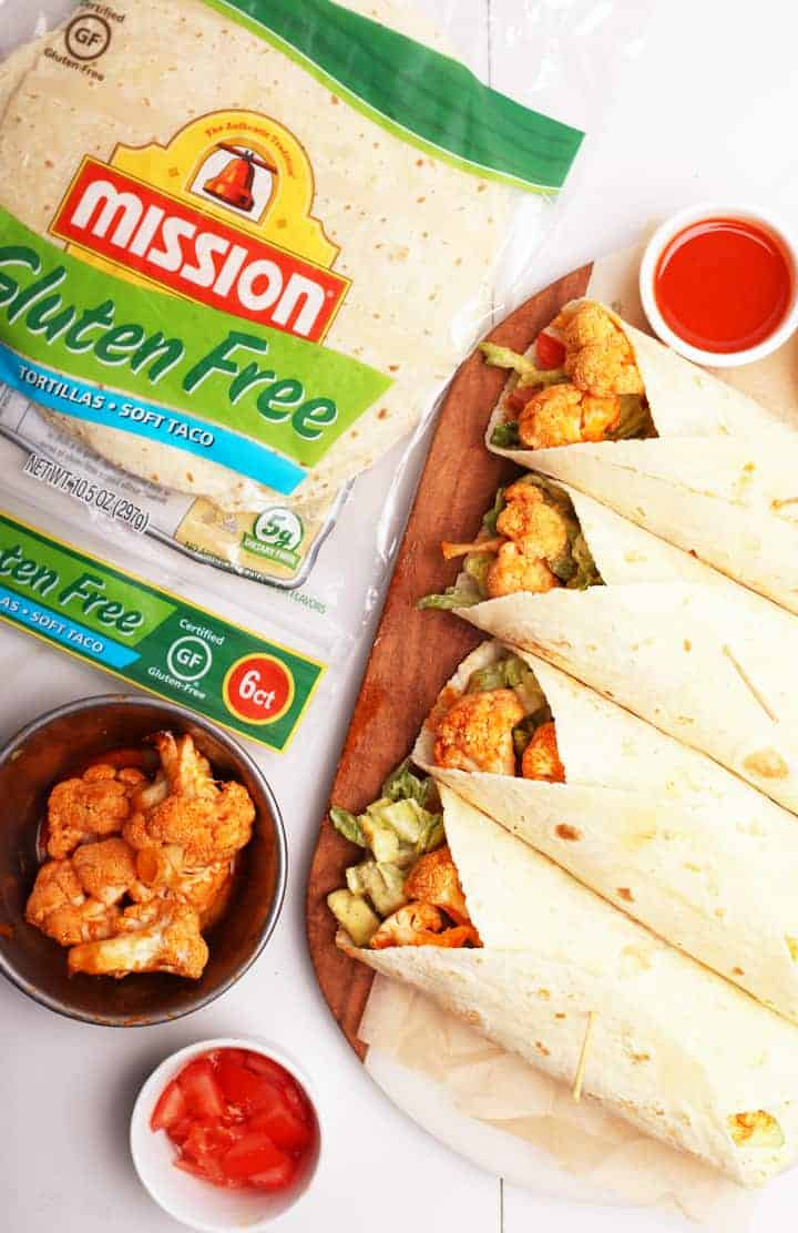 Buffalo Cauliflower Wraps with Mission Tortillas