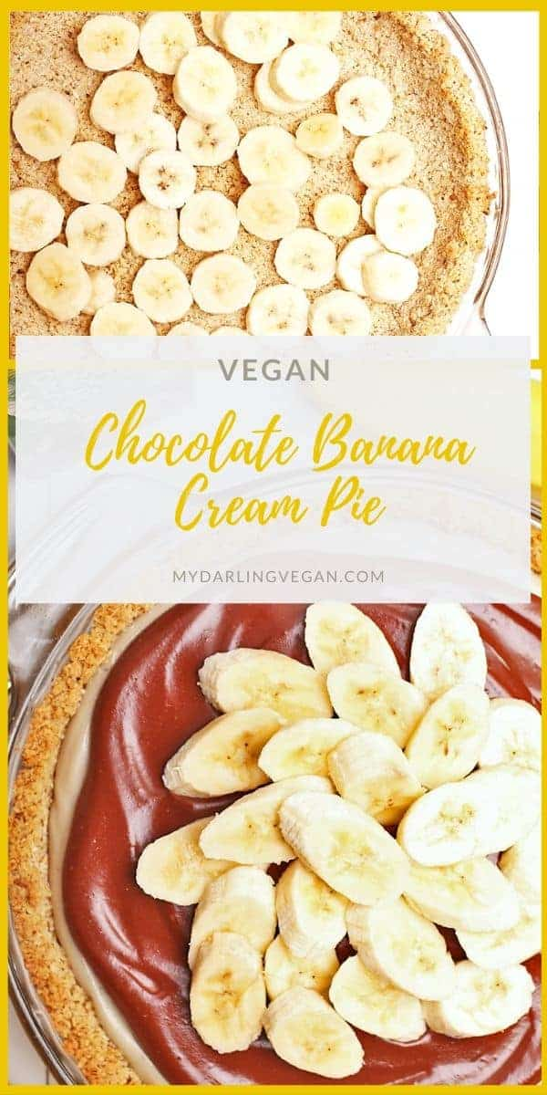 Delicious vegan Banana Chocolate Cream Pie. Layers of banana and chocolate mousse topped with shredded coconut and fresh bananas for a gluten-free and naturally sweetened wholesome dessert.