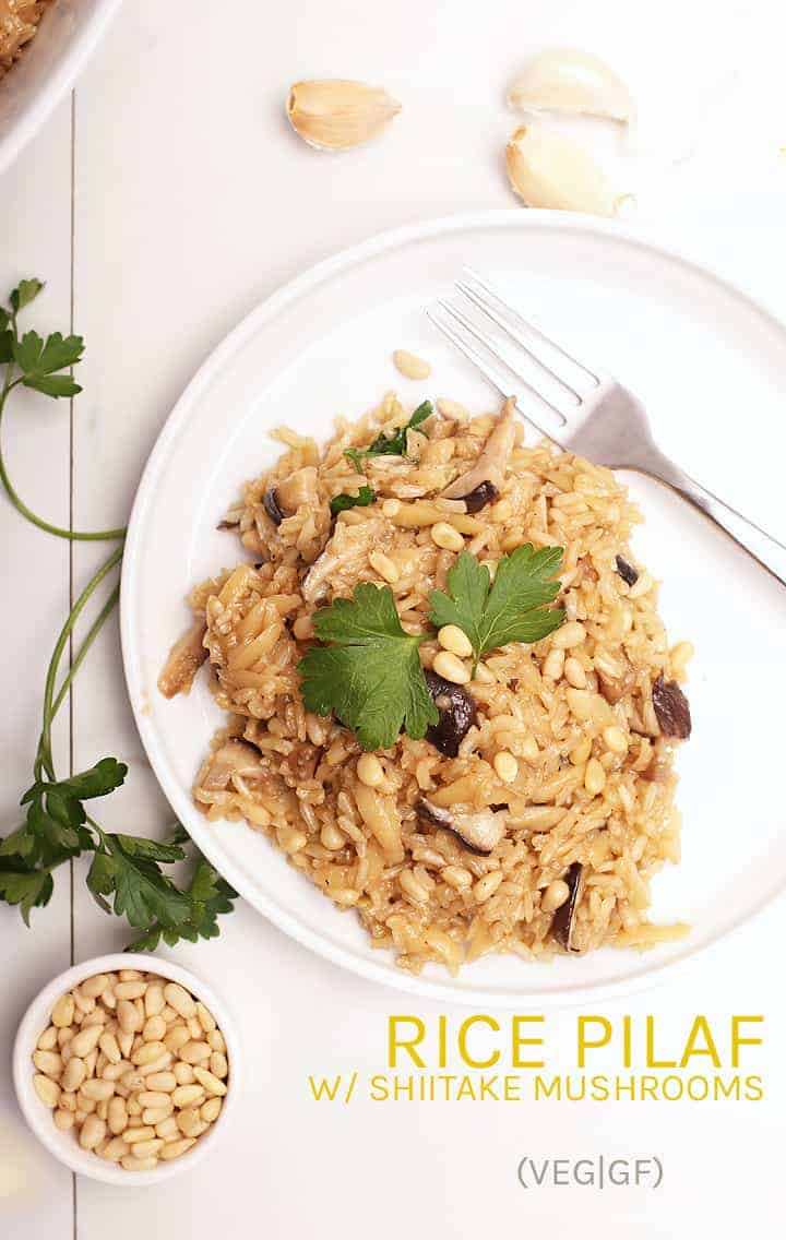 Enjoy this hearty and rich garlicky brown rice pilaf. Made with pine nuts and shiitake mushrooms for a delicious vegan side to your favorite weeknight meals.