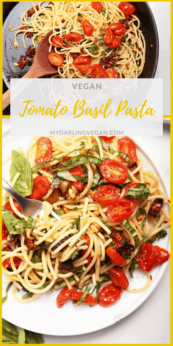 Enjoy the sweet and tart flavors of this vegan pasta with roasted cherry tomatoes and fresh basil. Tossed with toasted garlic and pinenuts, this vegan pasta is the perfect 30-minute weeknight meal.