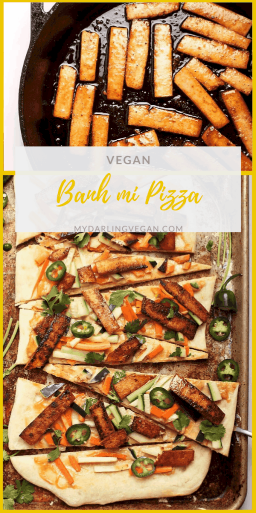A culinary fusion of Italian and Vietnamese classics, this vegan Banh Mi Pizza is made with quick pickled cucumbers and carrots, seasoned tofu, and creamy Banh mi sauce.