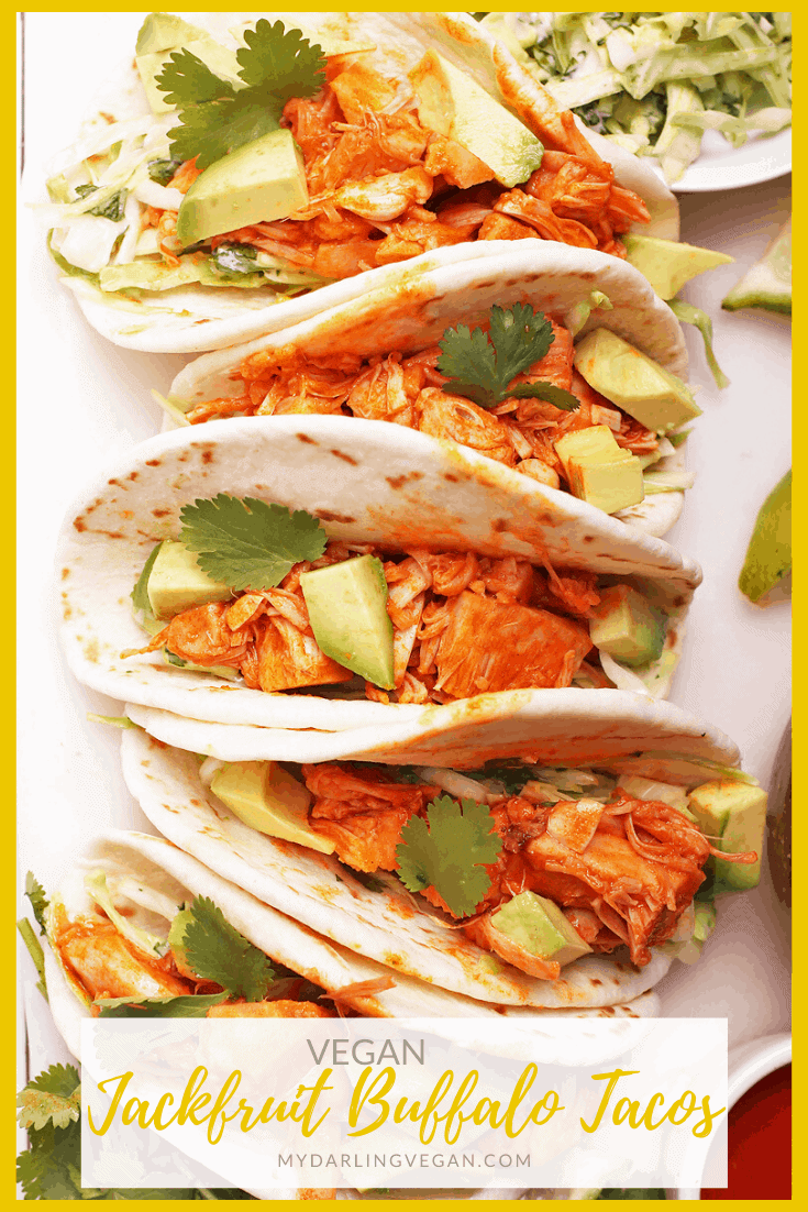 Lighten up with these incredible vegan tacos. Made with buffalo jackfruit, cilantro cabbage slaw, and fresh avocado, these tacos are something to get excited about! Made in just 20 minutes for an easy and delicious vegan meal.