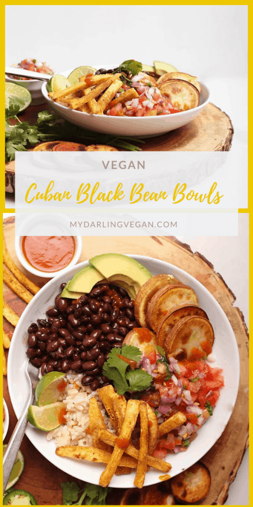 A hearty and healthy bowl with Cuban Black Beans, roasted sweet potatoes, fresh pico de gallo and homemade plantain fries. Vegan and gluten-free!