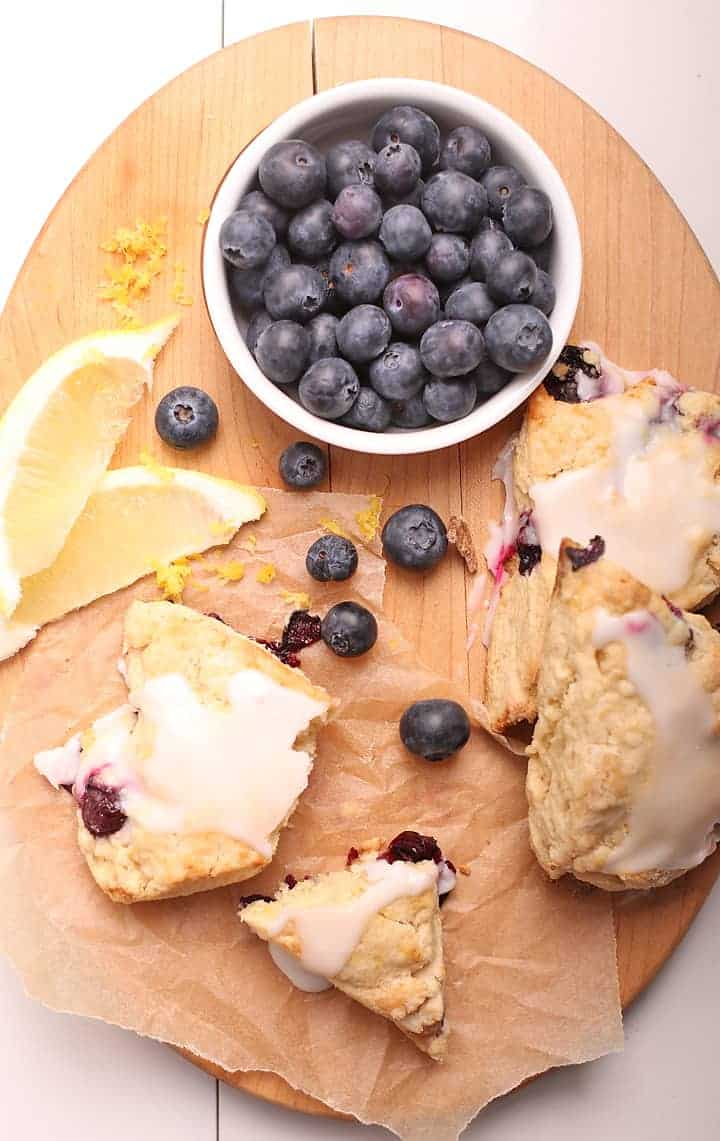 Blueberry Scones on a wooden platter