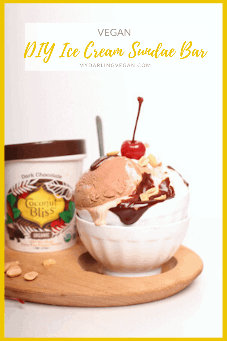 Make your own Vegan Ice Cream Sundae Bar at home. Recipes for chocolate ganache, coconut caramel sauce, and coconut whipped cream!