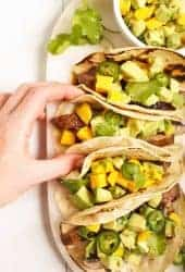 Mushroom tacos with mango salsa