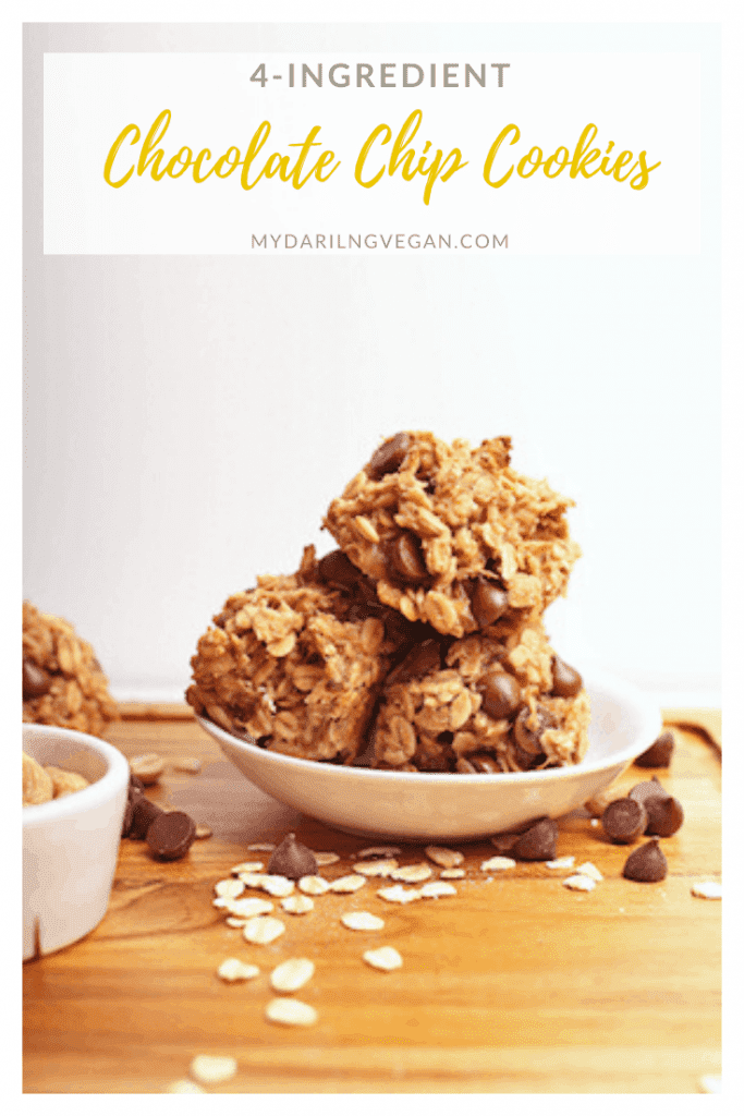 Healthy 4-Ingredient Cookies with chocolate chips made with just banana, oats, peanut butter for a quick and healthy snack or sweet treat. Vegan and gluten-free!
