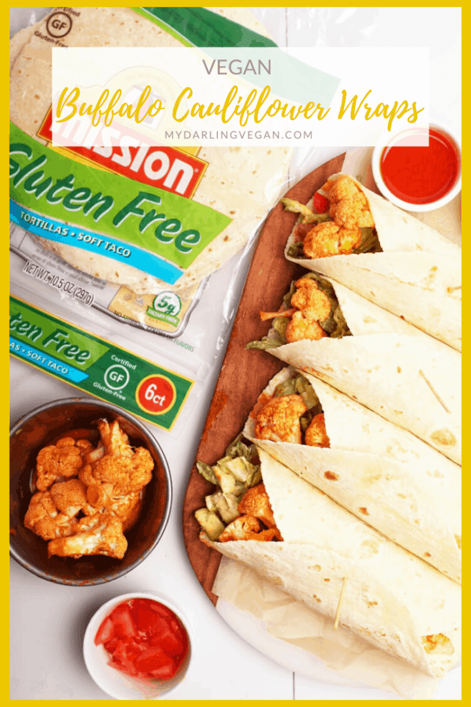 Enjoy these Buffalo Cauliflower Wraps made with Mission Gluten Free Tortillas for a plant-based meal that everyone will love. Oven-roasted cauliflower covered in homemade Buffalo Sauce combined with a Romaine and avocado salad and fresh cherry tomatoes.