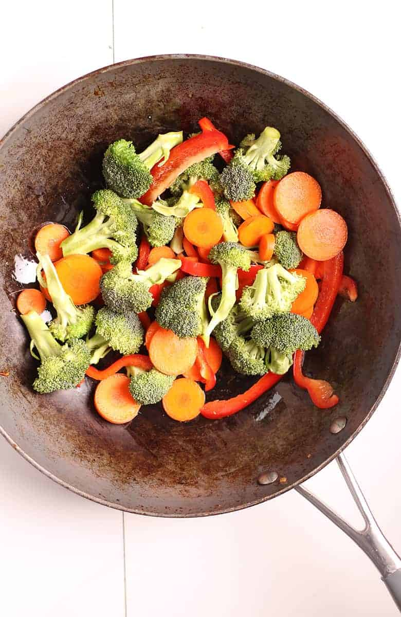 Broccoli, Carrots, and Peppers in a fry pan