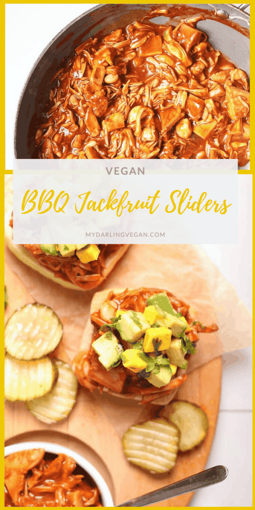 You're going to love these Jackfruit Pulled Pork Sandwiches. Ciabatta rolls stuffed with BBQ Jackfruit and topped with Avocado Mango Salsa. Made in just 20 minutes. Vegan and soy-free!