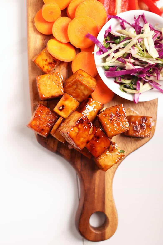 Korean BBQ Tofu on cutting board