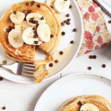 Vegan Banana Pancakes with chocolate chips