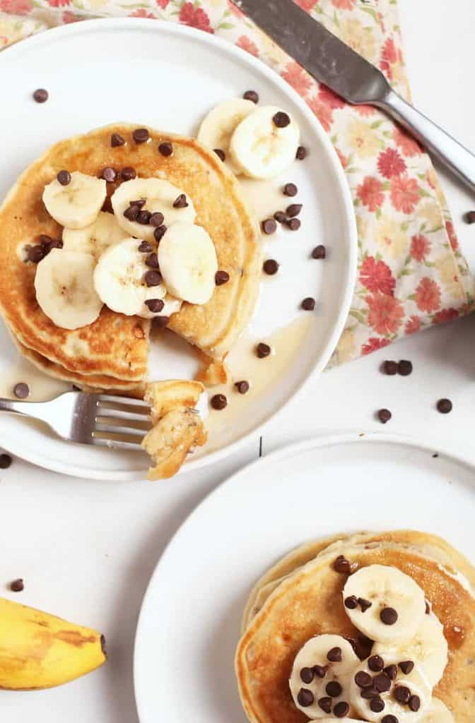 Vegan Banana Pancakes with chocolate chips