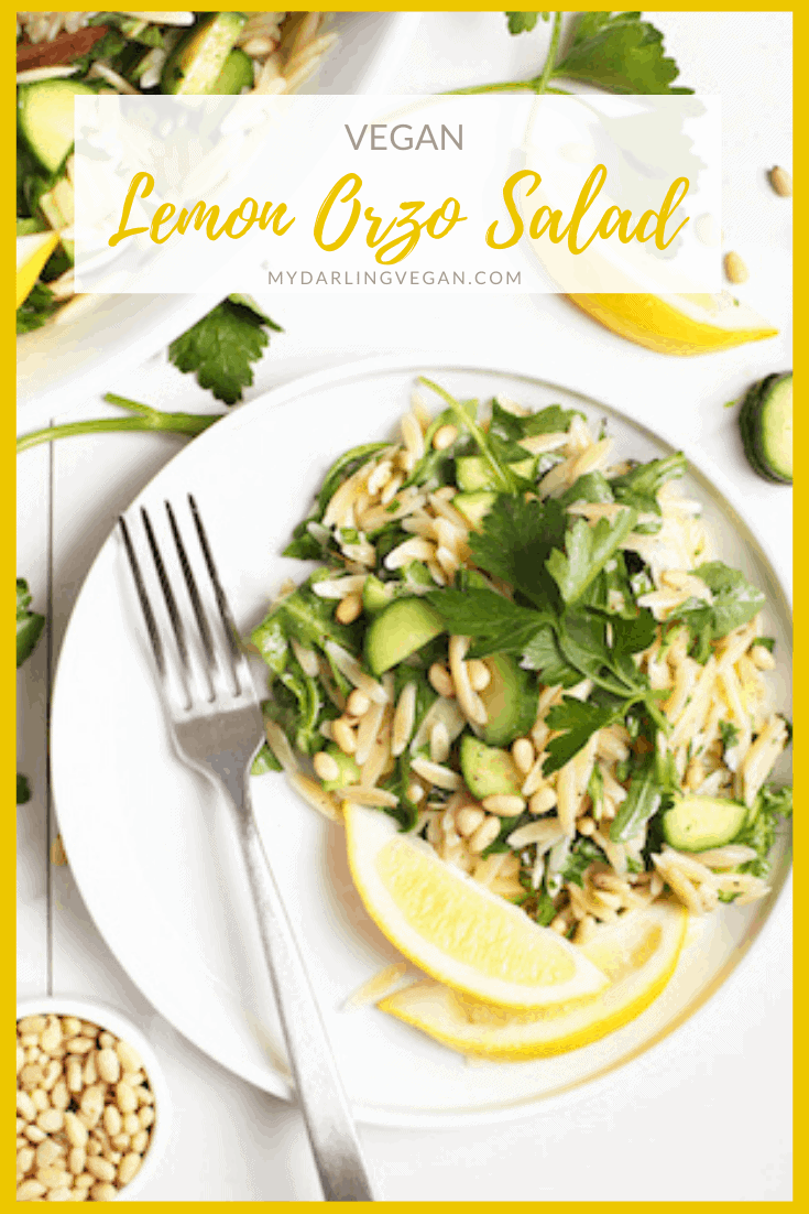 Lighten up with this refreshing Cucumber Lemon Orzo Salad. Made with fresh herbs, Persian cucumbers, and toasted pine nuts, this salad is then tossed with a lemon garlic dressing. Made in 20 minutes!