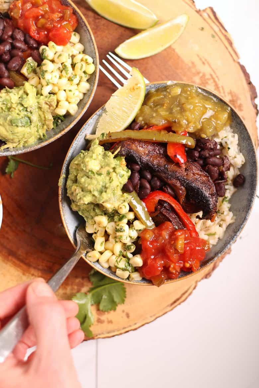 Vegan Fajita Bowls on wooden platter