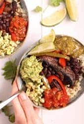 Close up Vegan Fajita Bowls