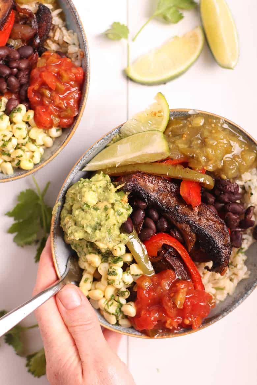 Close up Vegan Fajita Bowls