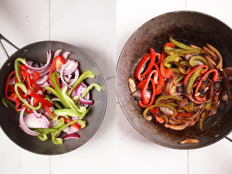 Sautéed onions and peppers in fry pan