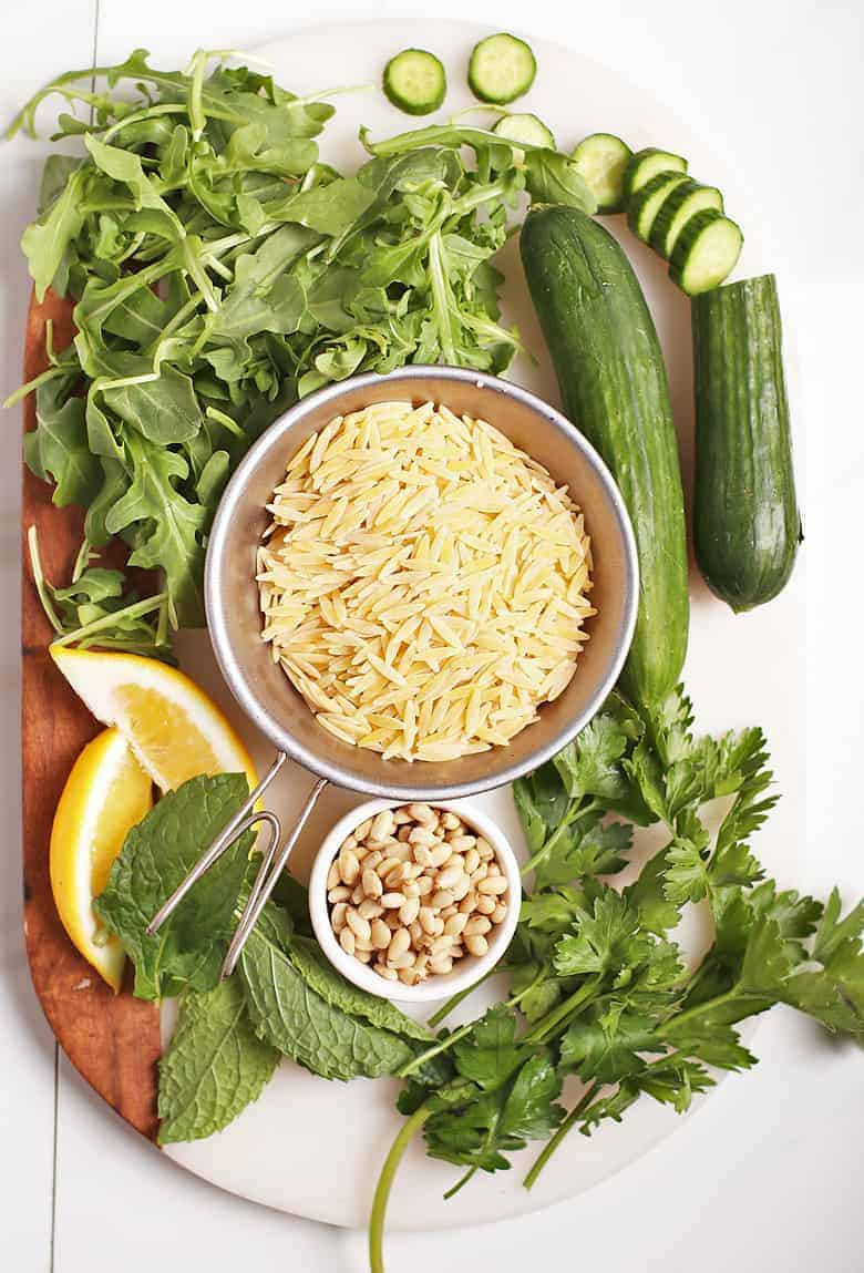 Ingredients for Lemon Orzo Salad