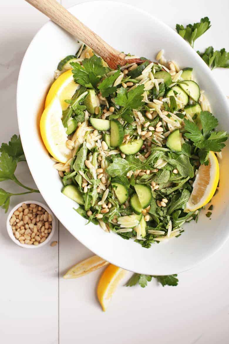 Lemon Orzo Salad in a white bowl