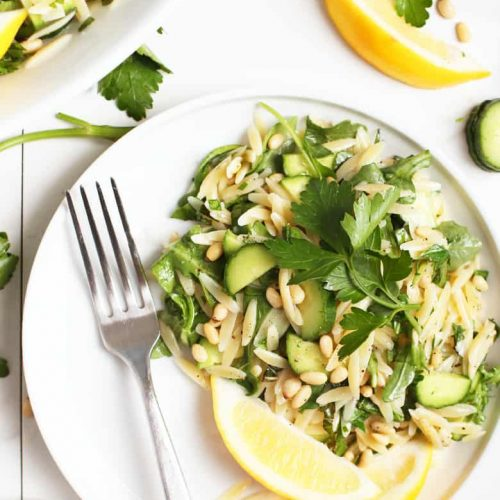 Lemon Orzo Salad on a white plate