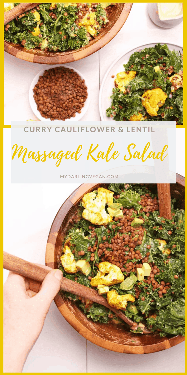 Enjoy the vibrant flavors of curried cauliflower, sea salt massaged kale, and lemon tahini dressing in this warm kale salad. A hearty, vegan, and gluten-free entree salad that you will absolutely love.