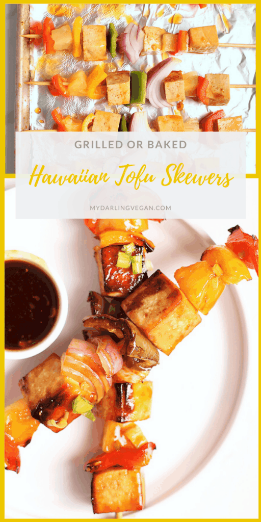 Sweet and savory Rainbow Teriyaki Tofu Skewers made with marinated tofu, pineapple chunks, and bell peppers. Grilled or baked, these delicious skewers are vegan, gluten-free, and 100% DELICIOUS!