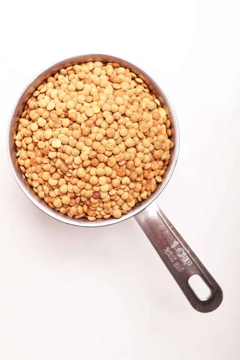 Dry brown lentils in a measuring cup