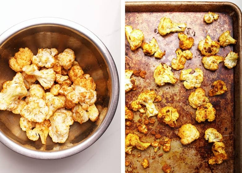 Curried cauliflower on a baking sheet