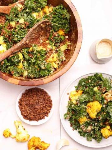Kale Cauliflower Salad on a white plate