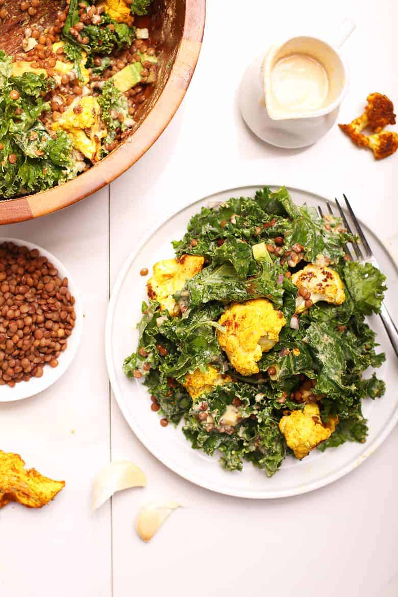 Kale Salad with Curried Cauliflower
