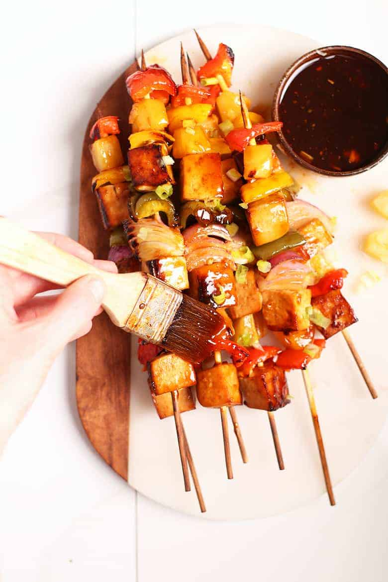 Teriyaki Tofu Skewers brushed with Teriyaki sauce