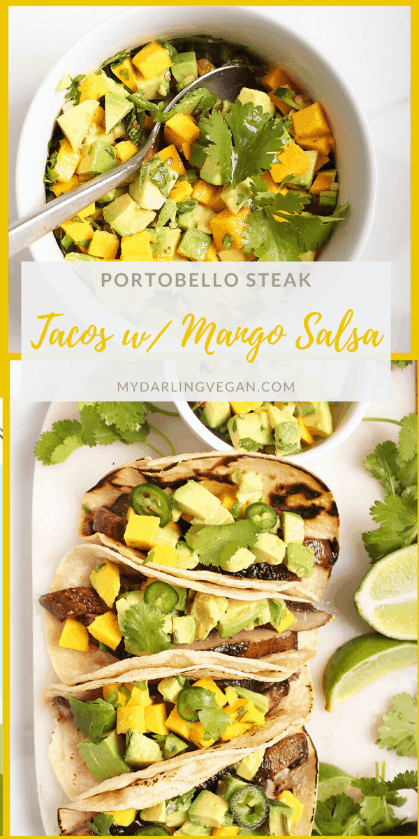 Lighten up with these mushroom tacos. Made with grilled portobello steaks and avocado mango salsa, these vegan and gluten-free tacos are the perfect light meal.