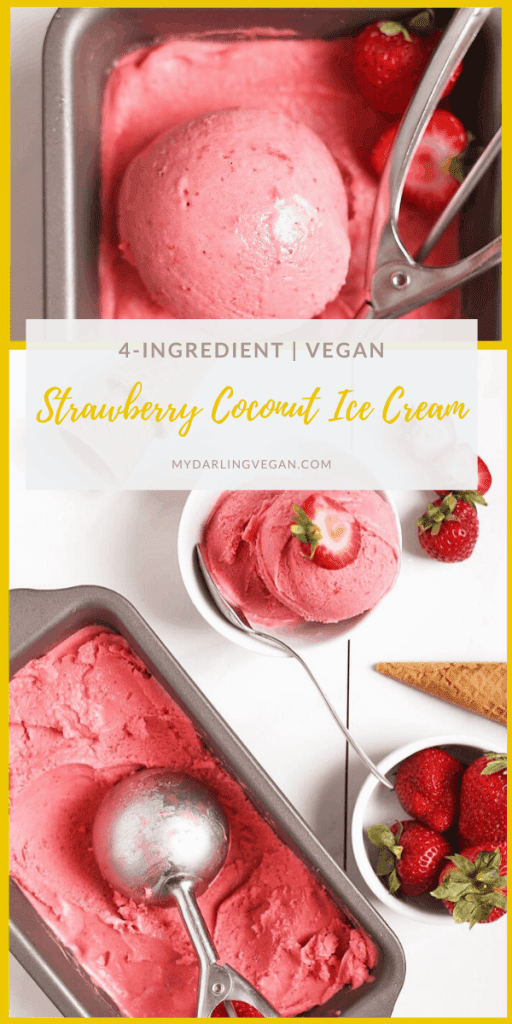 Make your own dairy-free ice cream at home with this vegan strawberry ice cream. Made with just 5 ingredients for a delicious and refreshing summertime dessert.