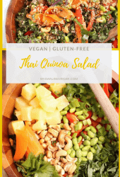 Enjoy this vegan and gluten-free Thai Salad. Tossed with pineapple, carrots, and bell peppers and dressed with Spicy Peanut Sauce for a wholesome and satisfying meal that everyone will love.