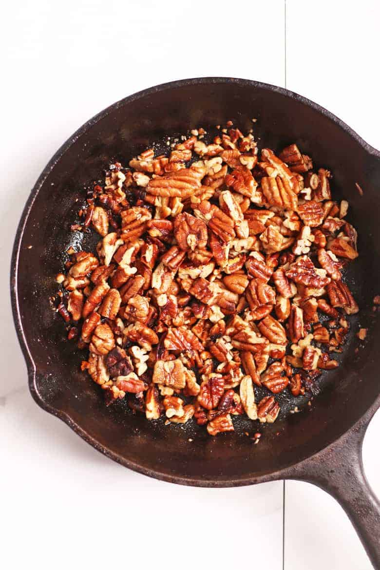 Buttered pecans in sauté pan