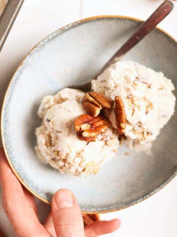 Butter pecan ice cream in bowl