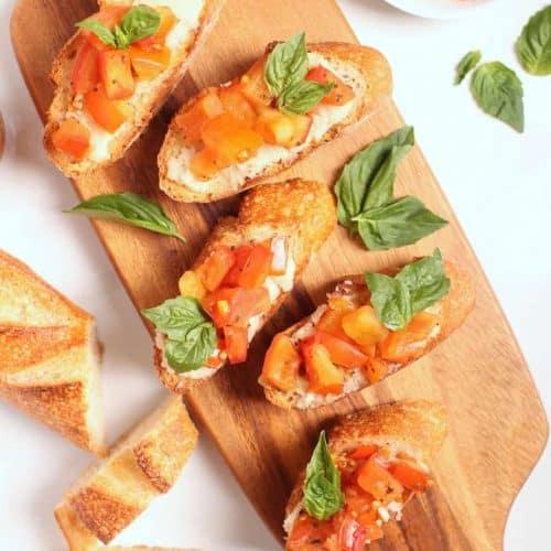 Tomato Bruschetta on a cutting board